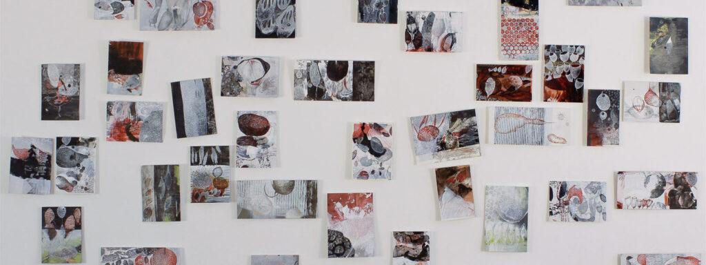 barbara wagner installation zeichnungen karte mischtechnik karton