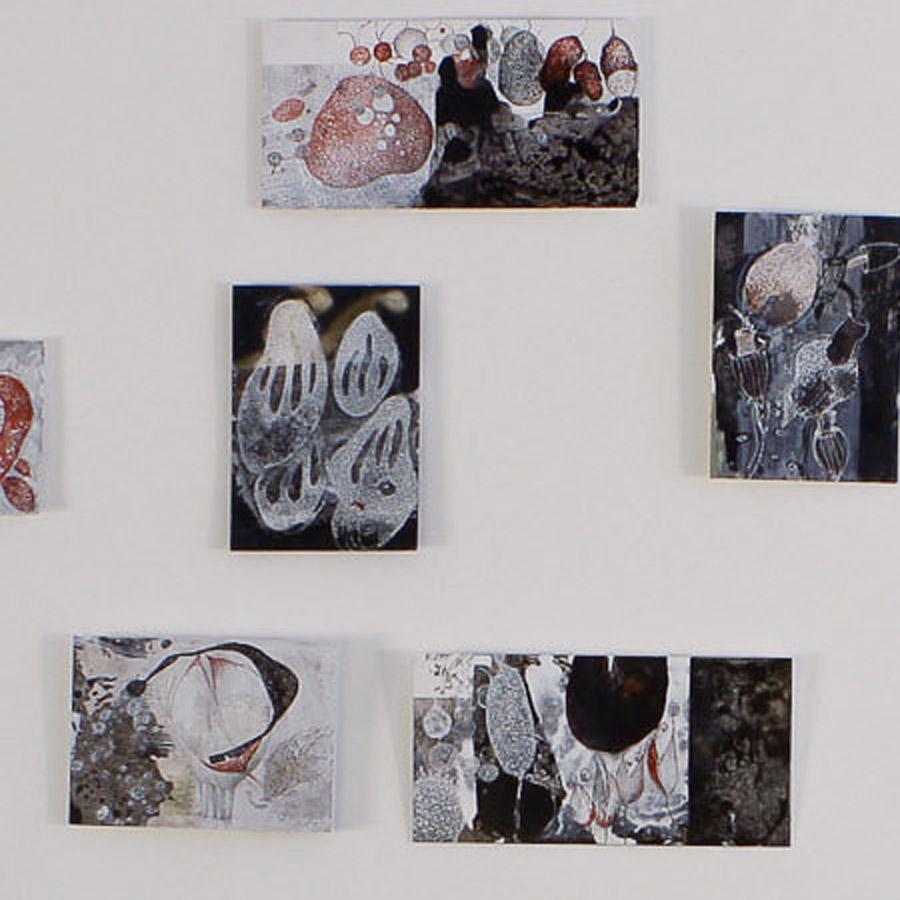 barbara wagner zeichnungen karte mischtechnik karton installation
